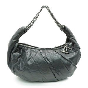 Authentic Chanel Croissant Shoulder Bag Grey